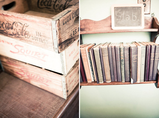 Antique soda pop crates, novels, and chalkboards were perfect details for this shabby chic wedding