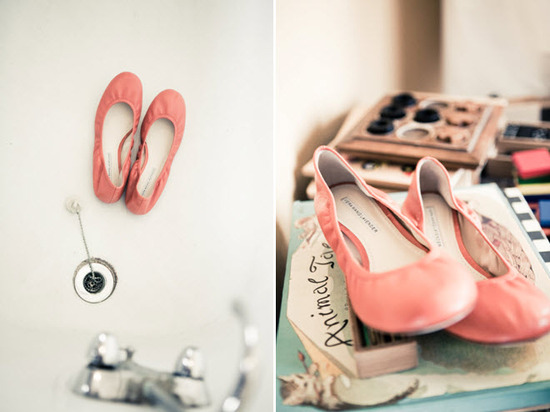 Bride's coral ballet flat bridal shoes