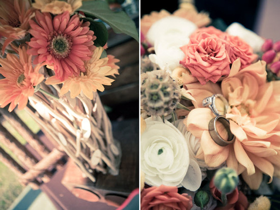 Gorgeous country-chic wedding flowers- pastel Gerbera daisies, ivory peonies and more