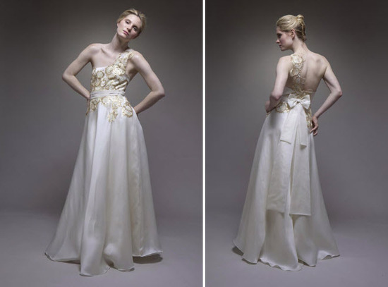 Ivory a-line silk satin strapless wedding dress with gold and silver embroidery