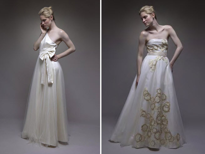 Romantic wedding dresses with a-line tulle skirts, and stunning silver & gold embroidery