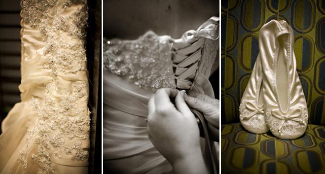 Bridal-style-wedding-photos-detail-shot-beaded-ivory-wedding-dress-ballet-flats-wedding-shoes.full