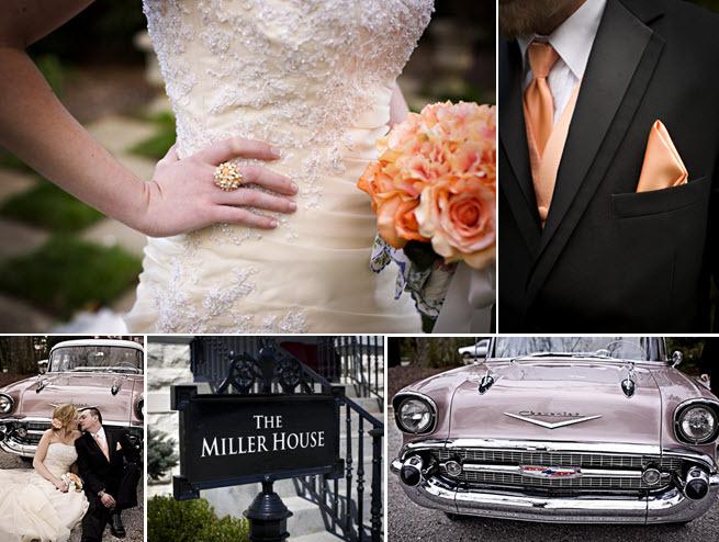 Ivory-beaded-wedding-dress-peach-orange-bridal-bouquet-wedding-flowers-black-tux-vintage-wedding-transportation-corvette.full