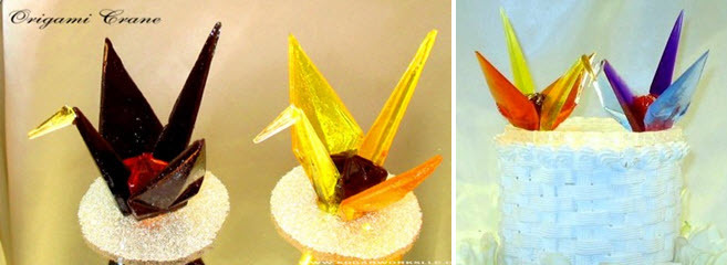 Origami-sugar-wedding-cake-toppers-in-vibrant-colors.full