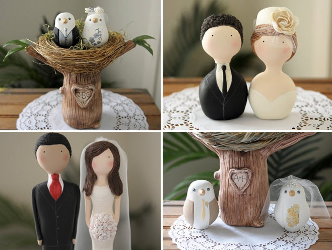 Adorable handmade wedding cake toppers featuring birdy bride & groom siting in lovely nest