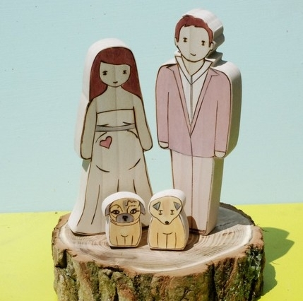 Wedding-cake-eco-friendly-cake-toppers-natural-wood-bride-groom-dogs.full