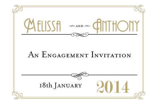 Vanessa Engagement Invitation Card in Black  - DreamDay Invitations