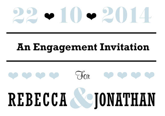 Beau Engagement Invitation Card in Black - DreamDay Invitations