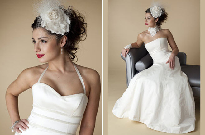 Vintage-chic-bride-with-large-flower-fascinator-bridal-headpiece-strapless-white-wedding-dress.full