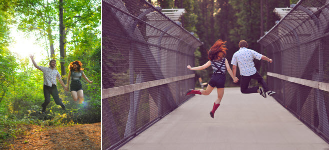 Fun-outdoor-low-key-engagement-session-bride-groom-jump-on-bridge-in-forest.full