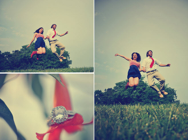 Vintage-style-wedding-engagement-e-session-photos-cushion-cut-diamond-engagement-ring-bride-groom-jump-holding-hands.full