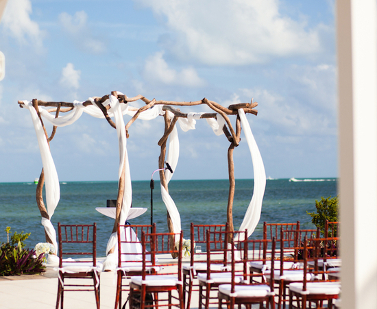 Gorgeous Wooden Arbor at Beach Wedding