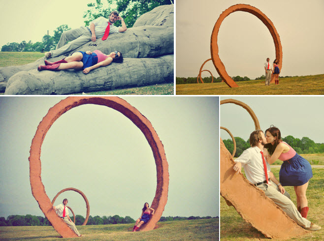 Artistic-outdoor-engagement-session-photos-circular-statues-bride-groom-play.full