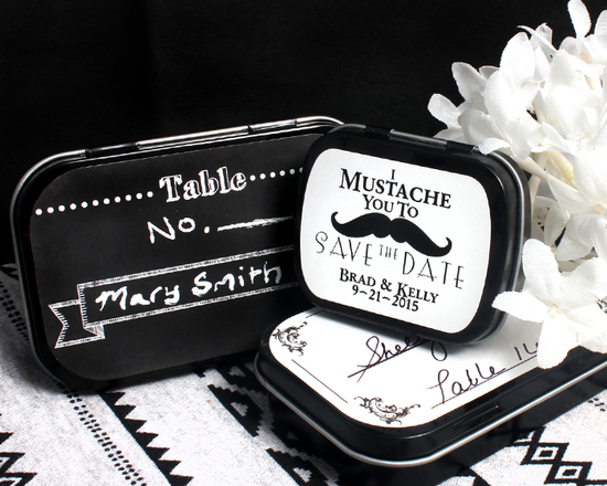 Black and White Placecard Favors