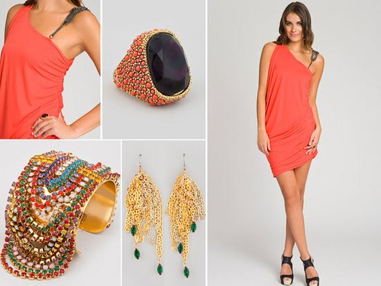 Shine bright on your honemoon with this coral one-shoulder dress and gold statement accessories