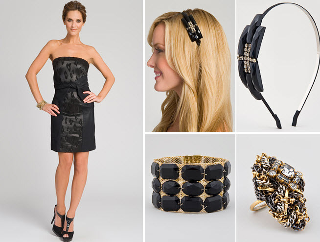 Little-black-dress-bridesmaids-dresses-sophisticated-gold-jewelry-headband.full