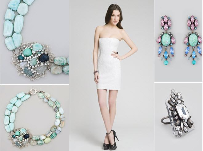 A white sequin mini dress with bold turquoise accessories for your rehearsal dinner