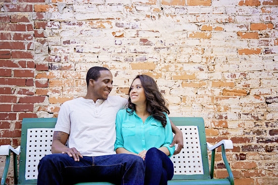 Brick Wall Engagement Picture Setting