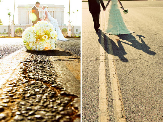 Bride and groom take photos in Arizona street after saying I Do