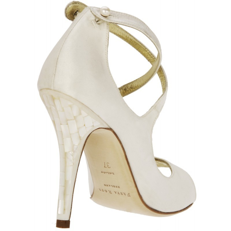 Aide Bridal Shoe with Mother of Pearl Heel