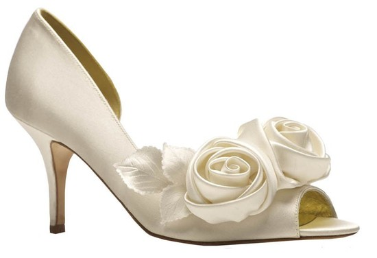 Annette Bridal Shoe with Floral Accent