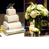 Three-tier-white-fondant-wedding-cake-monogram-cake-topper-rhinestone-details-ivory-green-floral-centerpieces-wedding-reception.square