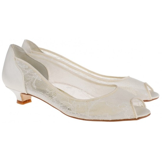 Emma Peep Toe Bridal Shoe with Chantilly lace