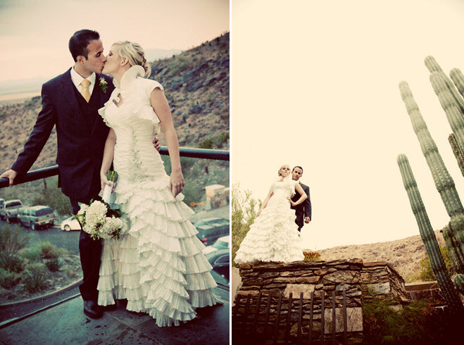 Bride-white-ruffled-wedding-dress-high-collar-kisses-groom-with-arizona-cacti-and-mountains-in-background.full