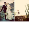 Bride-white-ruffled-wedding-dress-high-collar-kisses-groom-with-arizona-cacti-and-mountains-in-background.square
