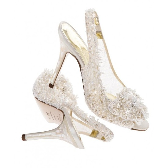 Snow Queen Bridal Shoe with lace and crystal design and a mother of pearl heel