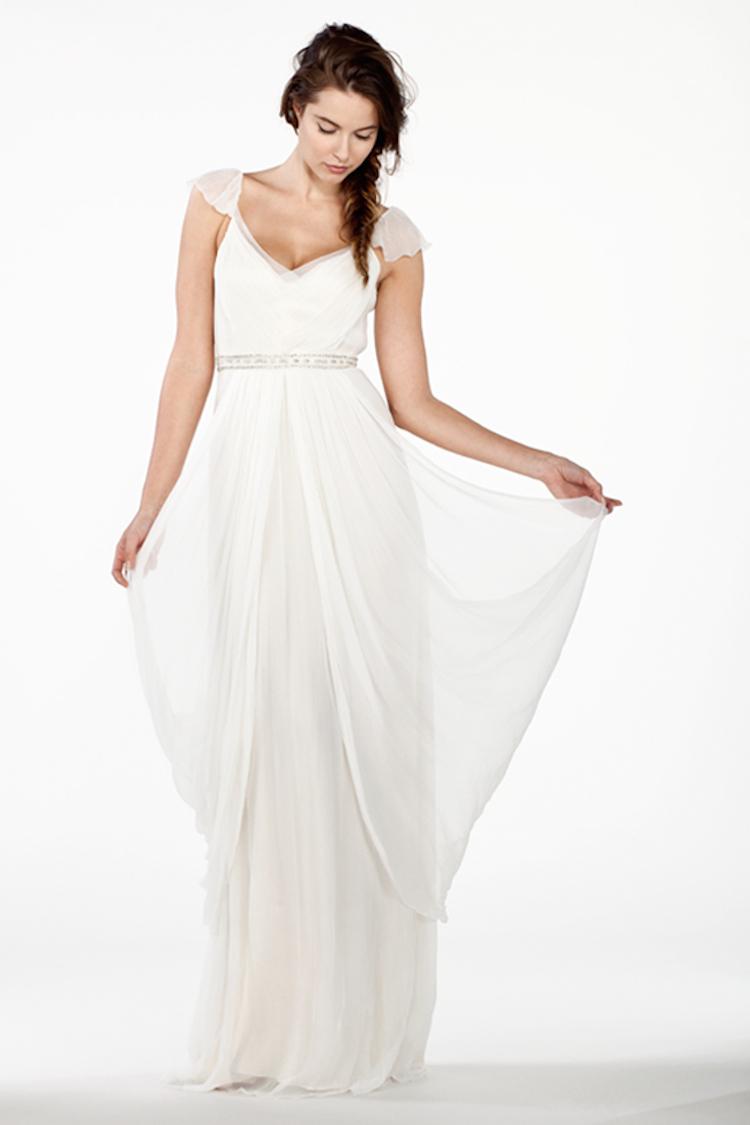 Draped silk chiffon wedding gown ombrellifo Choice Image