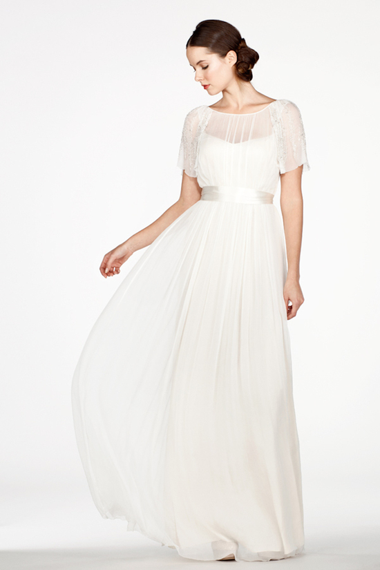 Draped Dress with Illusion Neckline