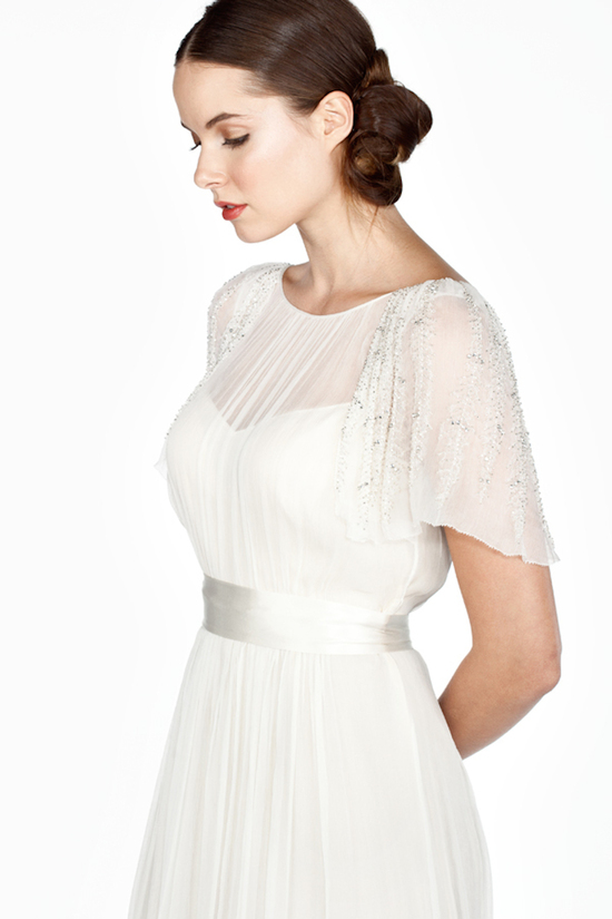 Illusion Neckline with Detailed Flutter Sleeves
