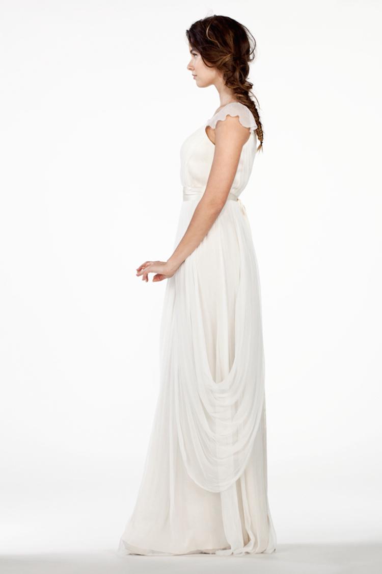 Draped Silk Chiffon Wedding Gown