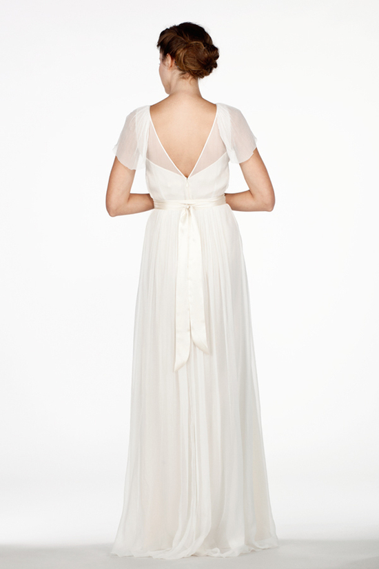 Sheer Illusion Flutter Sleeves and Plunging Back