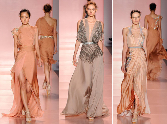 Couture gowns from Jenny Packham in taupe, nude, and blush hues