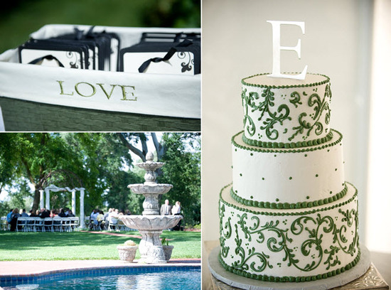 Classic white and green wedding color palette with a focus around love; three tier white and green w