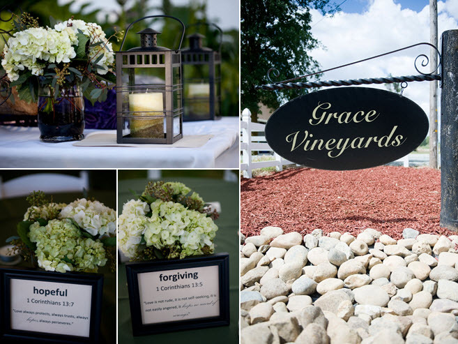 Spiritual-wedding reception table centerpieces with unique Scripture verses; ivory and green hydrang