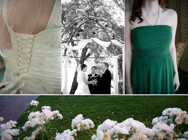 Ivory-wedding-dress-corset-bodice-forest-green-bridesmaids-dresss-pearls.full
