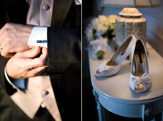 Best man receives cheeky cufflinks from the groom; ivory peep-toe bridal heels