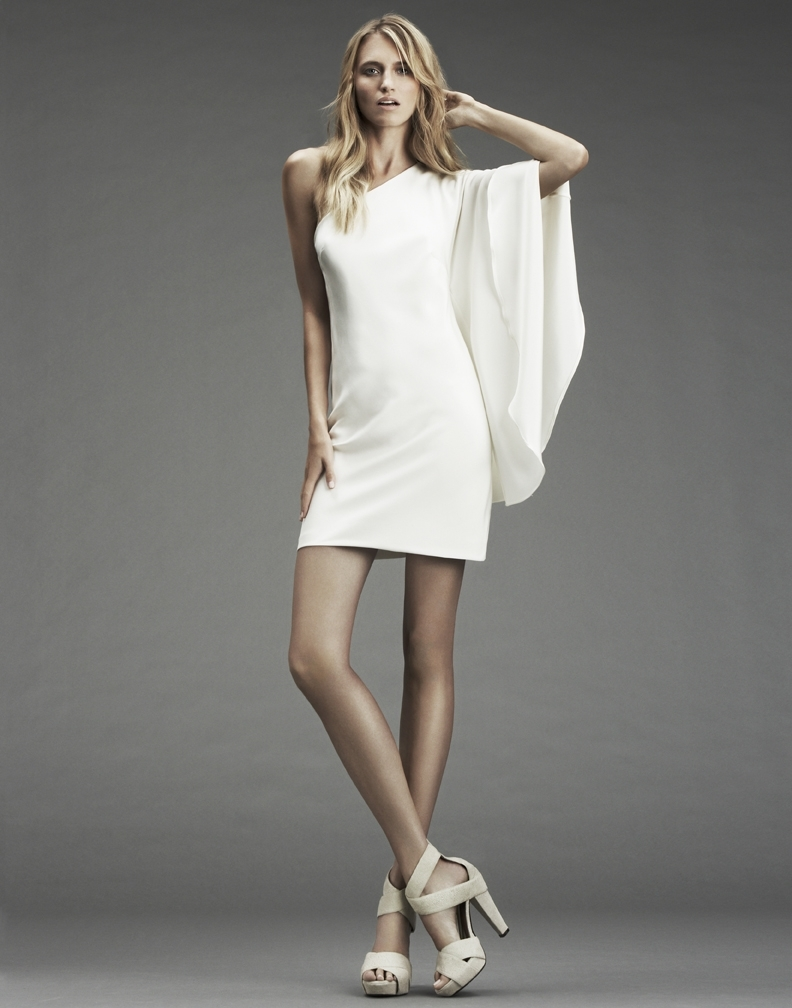 inspired one-shoulder white mini dress by Nicole Miller