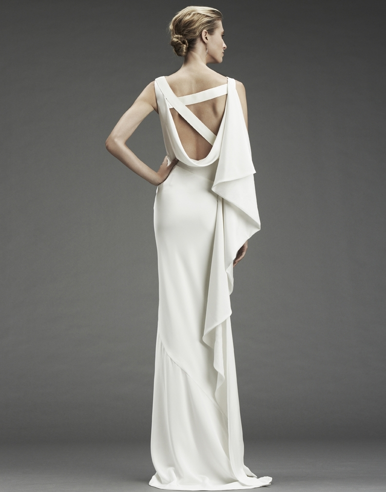 Nicole miller column wedding dress with asymmetric criss for Nicole miller dresses wedding