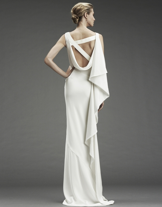 Nicole Miller column wedding dress with asymmetric criss cross back