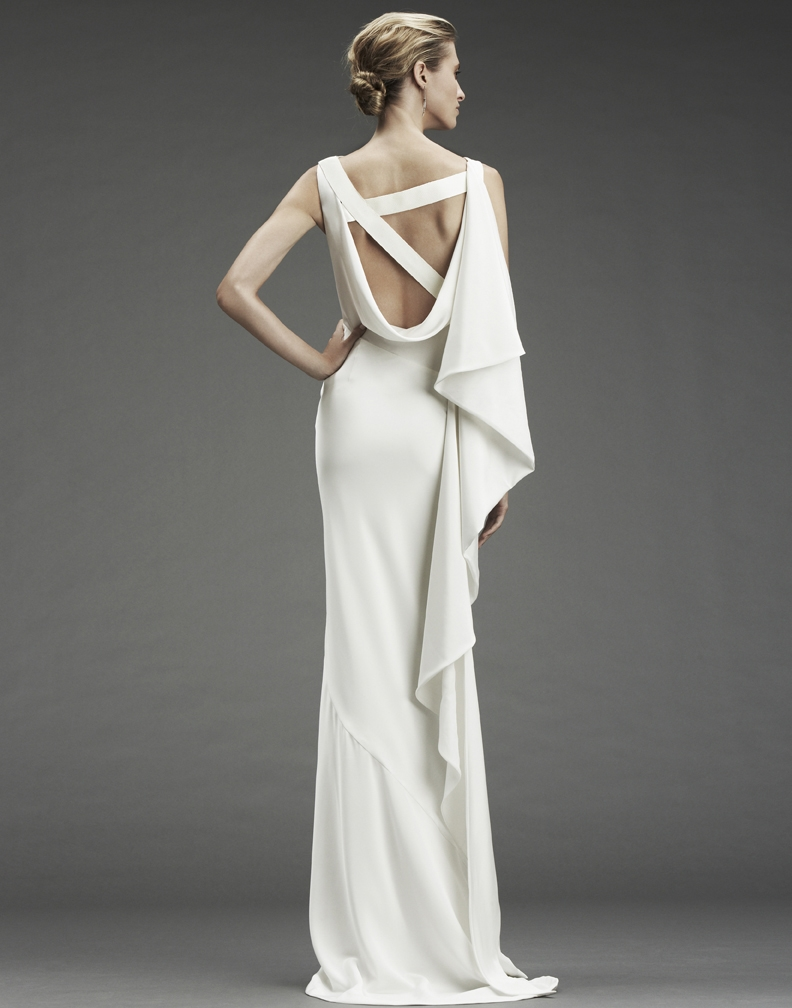 nicole miller column wedding dress with asymmetric criss