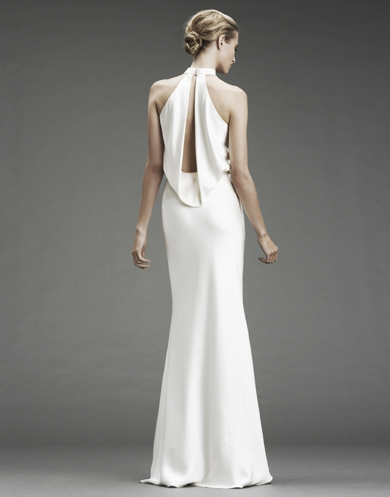 Slinky silk halter wedding dress with deep v halter and open slit back
