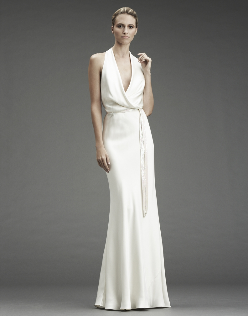 Slinky silk halter wedding dress with deep v halter and for Nicole miller dresses wedding