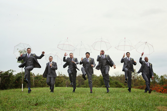 Groomsmen with Umbrellas