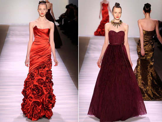Strapless red satin gown with rose floral applique; deep wine a-line Monique Lhuillier dress