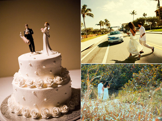 Golfing groom wedding cake topper; bride and groom cross street to head to beach for couple's photos