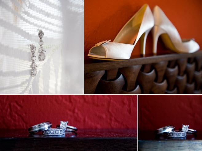 Chic-wedding-details-ivory-peep-toe-bridal-heels-dangling-bridal-earrings-engagement-ring-square-diamond-wedding-bands.full